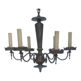 Tole and Wood Gothic Style Six Lights Chandelier
