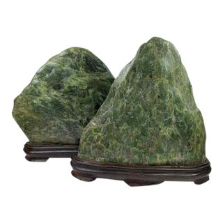 Jade Mountain Okimono Natural Jade Specimens - a Pair For Sale