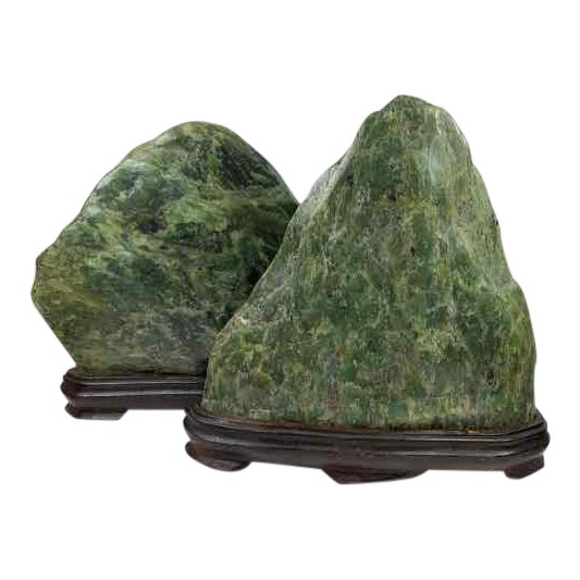 Jade Mountain Okimono Natural Jade Specimens - a Pair For Sale