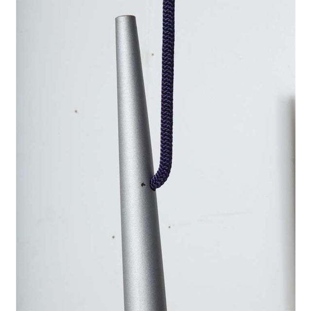 Contemporary Vintage Minimalist Philippe Starck Four Foot Hanging Steel Pendants - a Pair For Sale - Image 3 of 7