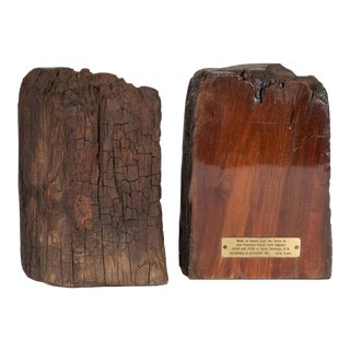 Midcentury Organic Schmieg & Kotzian Caobo Bookends from 16th Century Beams For Sale
