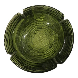 1970s Vintage Heavy Green Anchor Hocking Ashtray For Sale