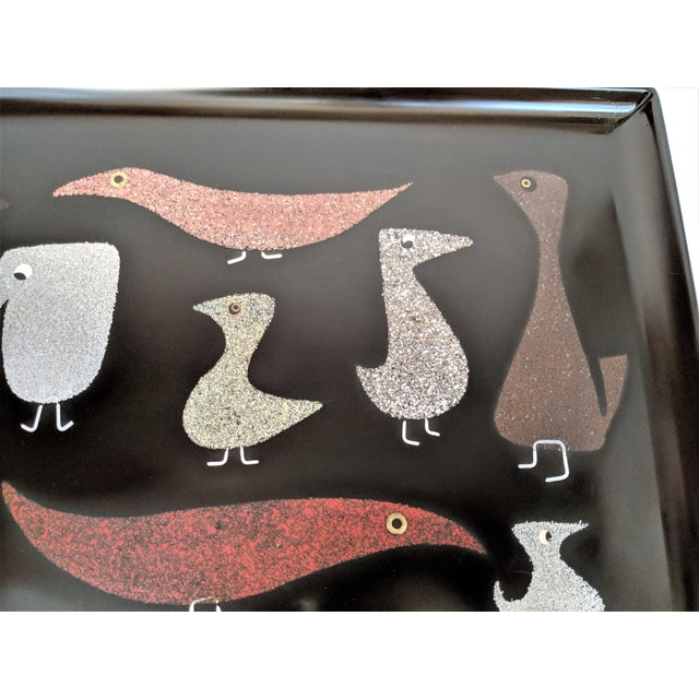 """Couroc of Monterey """"Mod Birds"""" Serving Tray For Sale - Image 5 of 11"""