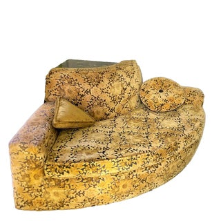 Rare Convex Corner Loveseat in Gold and Black Velvet Damask With Marble Top Stand For Sale