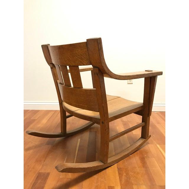 L. & J.G. Stickley, Inc. Mission Style Arts and Crafts Bentwood Quarter Sawn Oak Rocker For Sale - Image 4 of 11