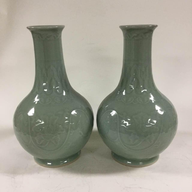 Floral Celadon Vases - A Pair - Image 2 of 6