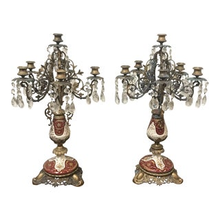Antique Brass and Enamel Candelabra - a Pair For Sale
