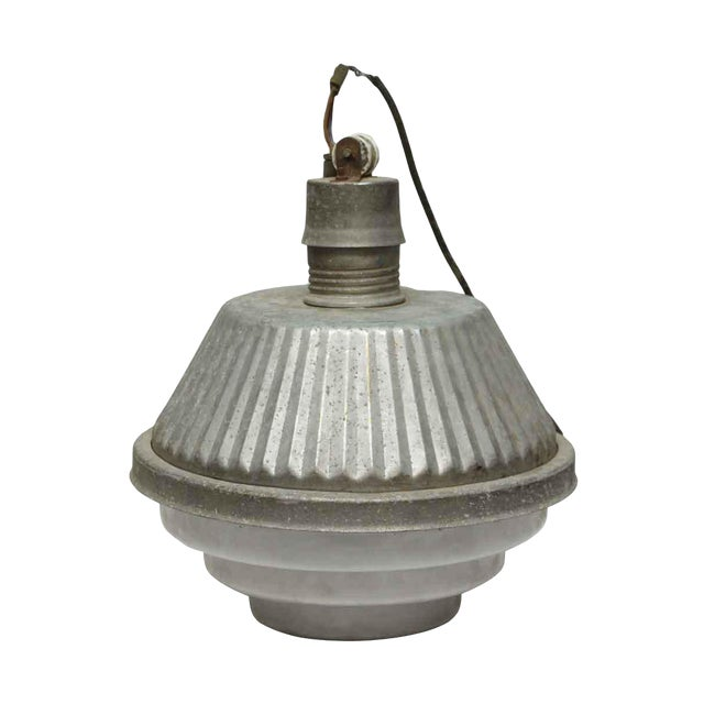Industrial French Fixture With Milk Glass Base For Sale