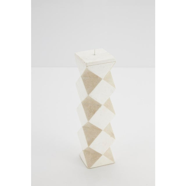 Tan 1990s Convertible Faceted Postmodern Tessellated Stone Candlestick or Vase For Sale - Image 8 of 8