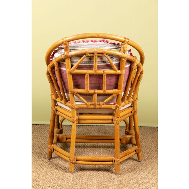 Vintage Rattan Chair With Injiri Cushions For Sale In Los Angeles - Image 6 of 9