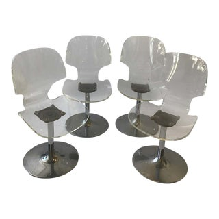 Four 1980s Lucite Chairs on Metal Bases For Sale