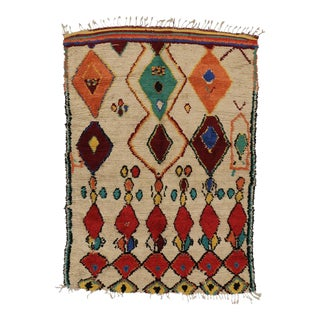 Mid-Century Modern Vintage Berber Moroccan Rug with Boho Chic Tribal Style
