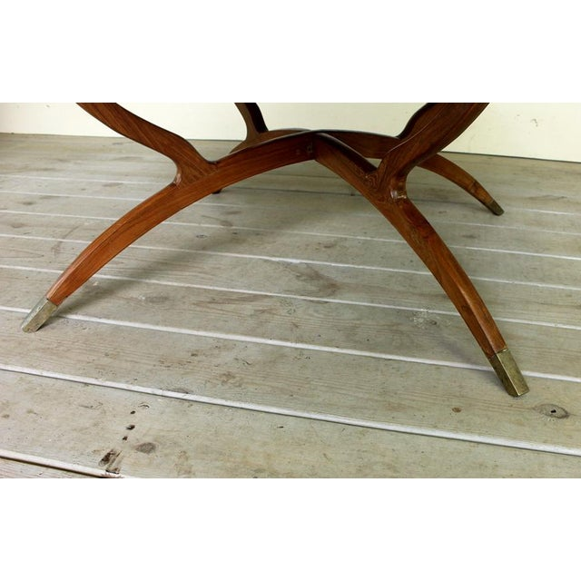 1970s Vintage Hollywood Regency Spider Style Brass Folding Tray Coffee Table For Sale - Image 5 of 8