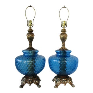 Regency Blue Glass Table Lamps, a Pair For Sale