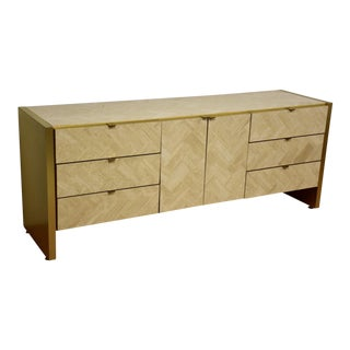 Ello Travertine and Brass Credenza For Sale