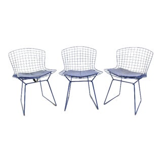 Bertoia for Knoll Original Mid-Century Modern Blue Chairs - Set of 3