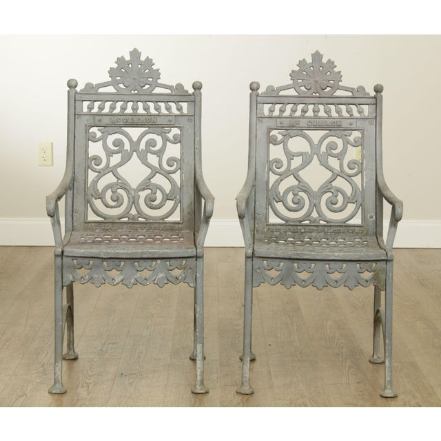 Victorian Antique Cast Iron Pair of Garden Cemetery Armchairs, Fred Gensel & Co. For Sale - Image 3 of 13