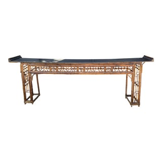 Antique Bamboo Chinoiserie Console For Sale