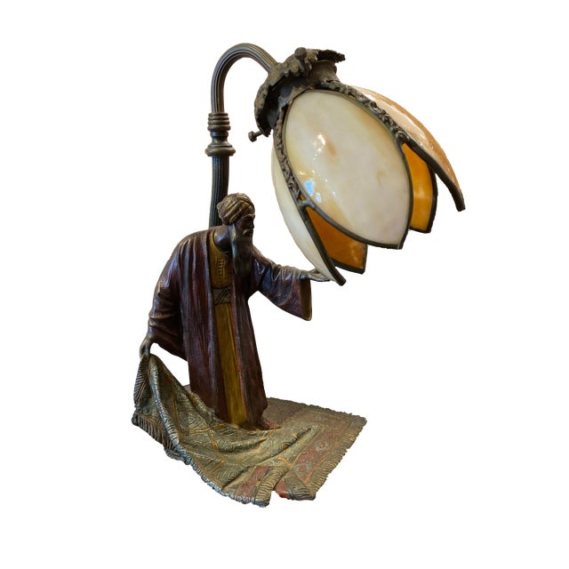 19th Century Cold Painted Austrian Bronze Figural Lamp For Sale
