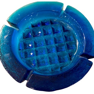 Mid Century Blenko Blue Ashtray Art Glass 1960's For Sale