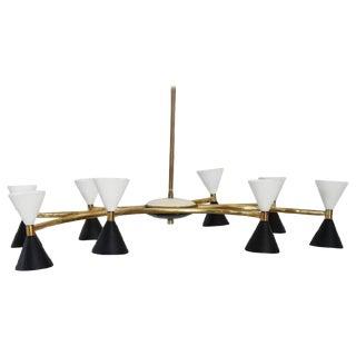 20th Century Italian Design Enamel and Brass Chandelier by Stilnovo, 1950s For Sale