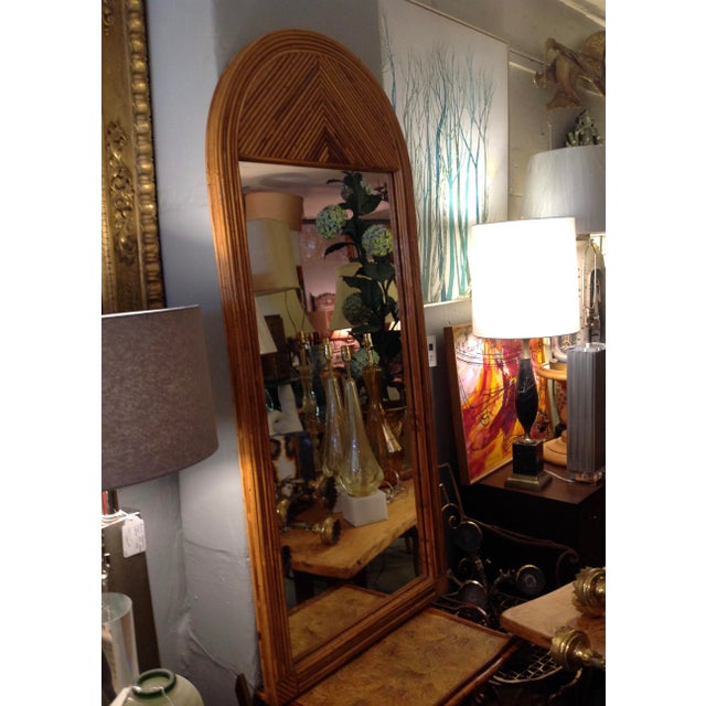 Boho Chic Mid Century Palladian Style Pencil Reed Rattan Mirror For Sale - Image 3 of 10