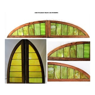 19th Century Antique Arched Stained-Glass Windows-A Pair For Sale