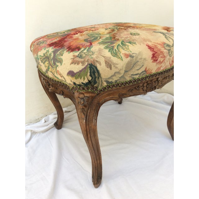 Wood Antique French Tapestry Stool For Sale - Image 7 of 10