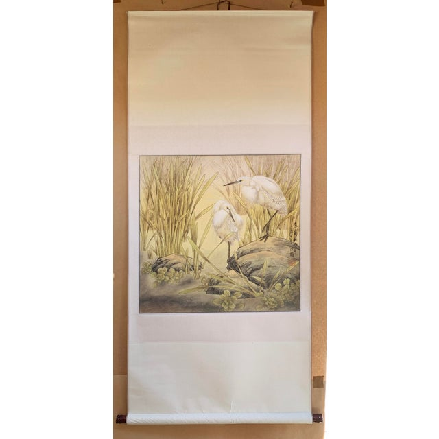 "1970s Vintage ""Two Egrets in Bushes"" Chinese Scroll Painting For Sale In Los Angeles - Image 6 of 6"
