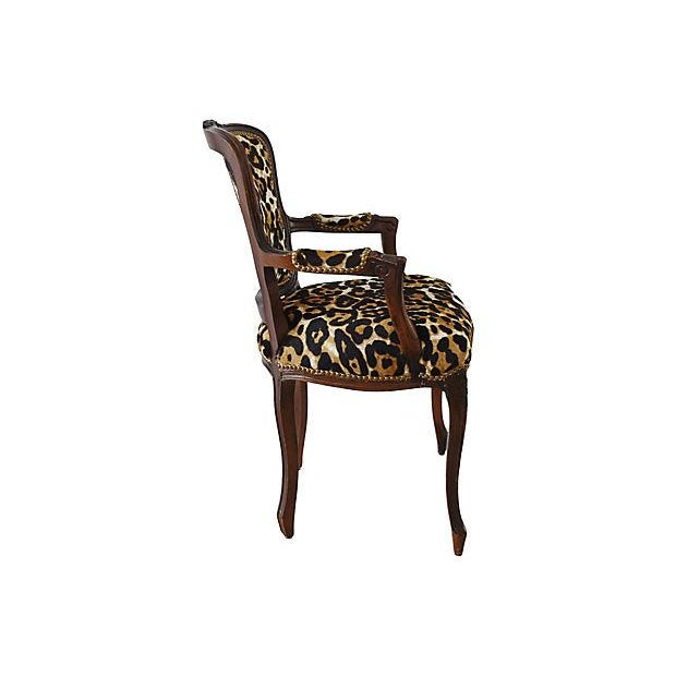Late 20th Century Carved Armchair W/ Cowhide Animal Spots For Sale - Image 5 of 12
