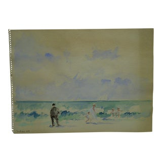 "Frederick McDuff Original Signed ""At the Beach"" Painting on Paper"