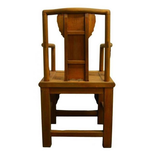 19th Century Chinese Lacquered Carved Elmwood Chair with Traditional Motifs For Sale - Image 9 of 10