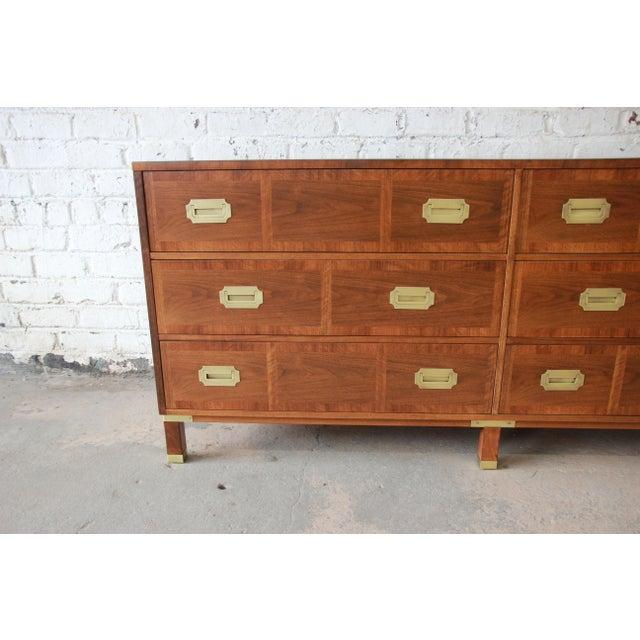 1950s Baker Furniture Milling Road Campaign Style Long Dresser or Credenza For Sale - Image 5 of 13