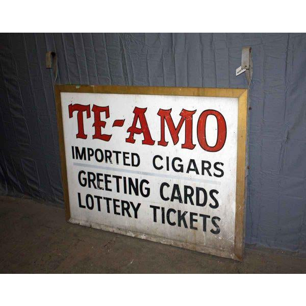 This 'Te-Amo' sign advertises imported cigars, greeting cards and lottery tickets.