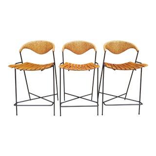 Mid Century Modern Arthur Umanoff Counter Stools - Set of 3 For Sale