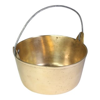 1940s Vintage Solid Heavy Brass Cooking Pot For Sale