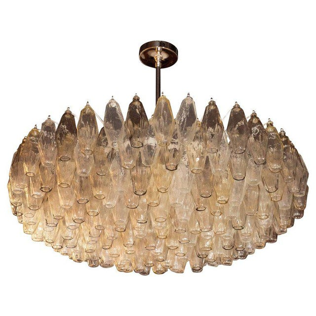 Modernist Polyhedral Chandelier in Topaz, Citrine & Clear Handblown Murano Glass For Sale - Image 9 of 9