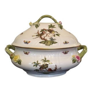 1980s Traditional Herend Rothschild Bird Tureen With Branch For Sale