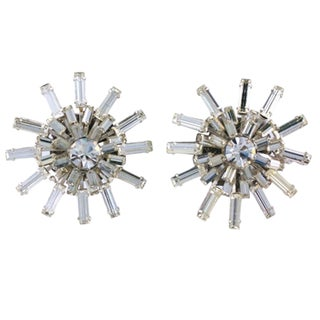 Miriam Haskell Baguette Starburst Earrings For Sale