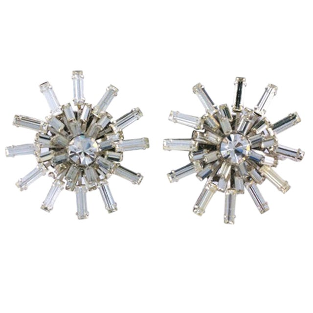 Miriam Haskell Baguette Starburst Earrings For Sale