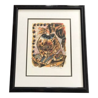 « L'ange Et Le Baladin » Original Color Lithograph Signed by Théo Tobiasse and Numbered - Cubism For Sale