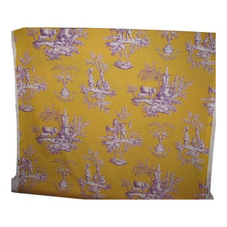 Duralee Fabrics Micheline Toile Yellow & Purple Fabric For Sale