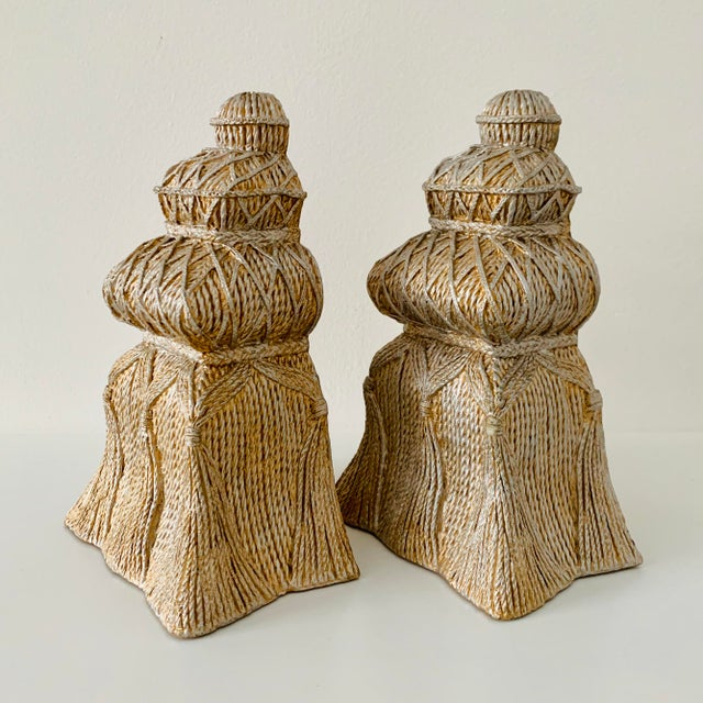 2010s Gold and Silver Ceramic Tassel Bookends - a Pair For Sale - Image 5 of 6