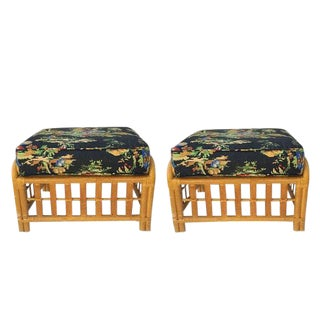 Mid Century Modern Split Bamboo Ottomans Matching Footstools With Cushions - a Pair For Sale