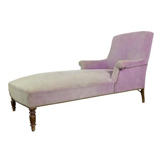French Faded Lavender Velvet Chaise For Sale