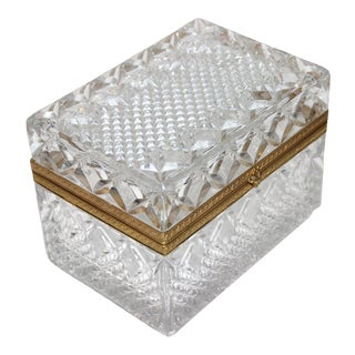 Vintage Jewelry Casket or Box Faceted Lead Crystal and Gilt Bronze For Sale
