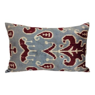 Slate Silk Velvet Down Feather Ikat Accent Pillow
