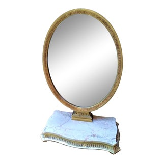 Italian Vintage Mirror on Marble Pedestal For Sale