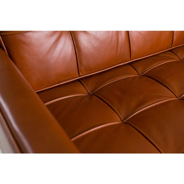 Industrial 1965 Florence Knoll Cognac Leather Armchairs - Set of 4 For Sale - Image 3 of 6