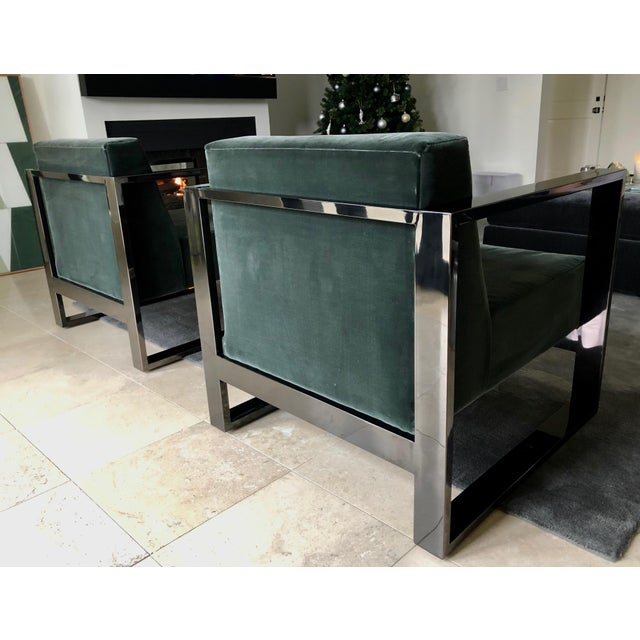 Mid Century Modern custom cube chairs. Unique, black polished-chrome frame with dark green / charcoal velvet upholstery....
